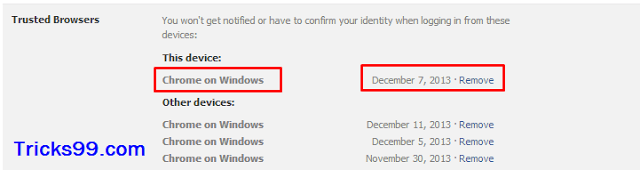 Trusted Browsers-Security Settings-secure facebook account