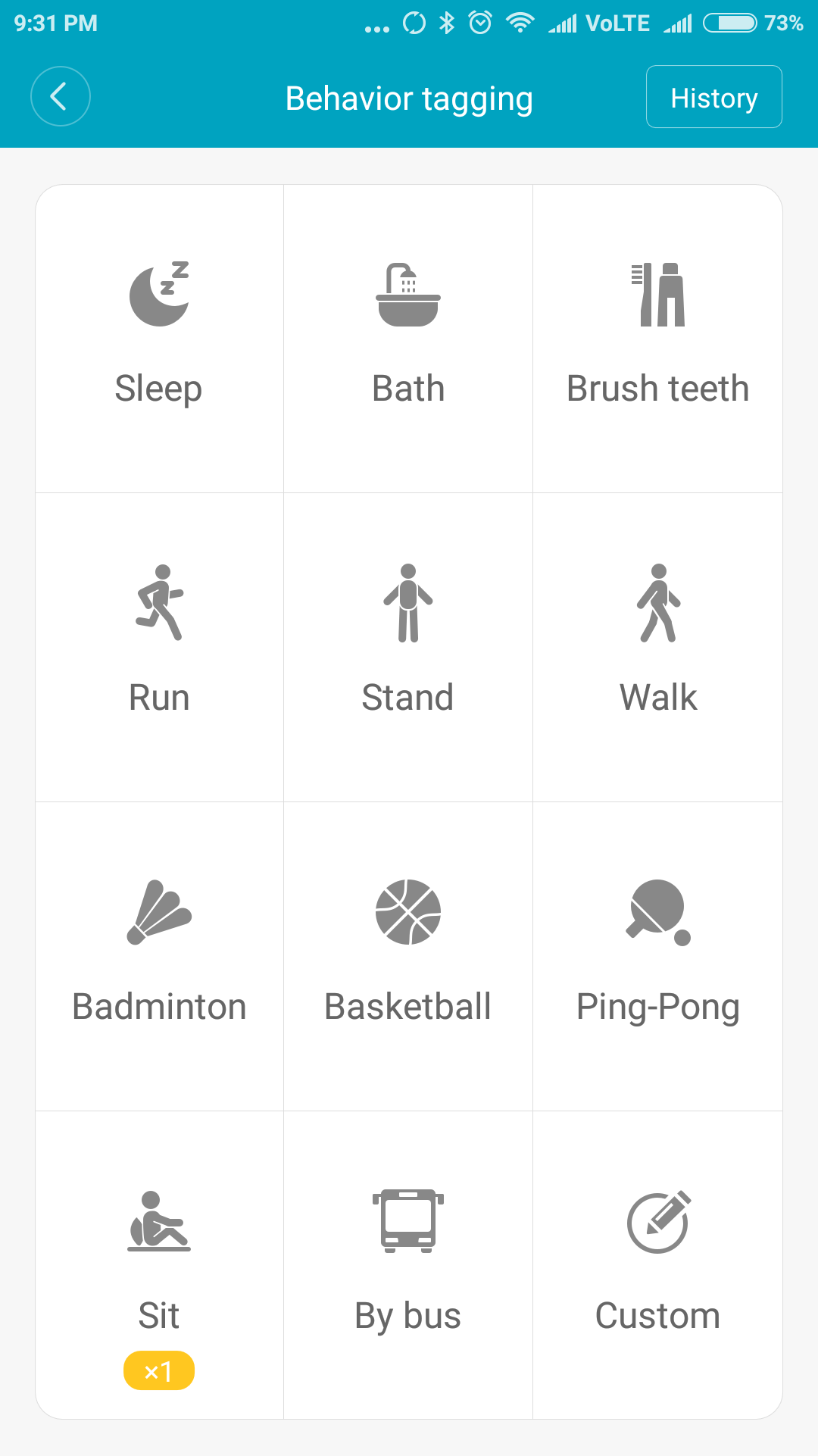 Behaviour tagging - Mi fit App